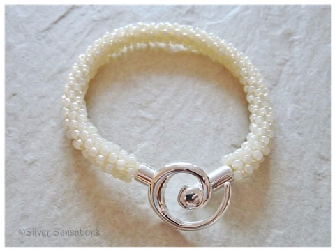 Light Ivory Cream Beaded & Woven Kumihimo Seed Bead Bracelet
